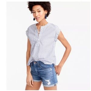 J. Crew Lace Up Popover Stripe Short Sleeve Top
